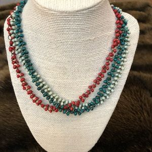 Multi tiered beaded necklace